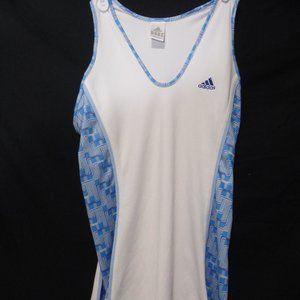 adidas 1 piece tennis dress, white & blue, medium